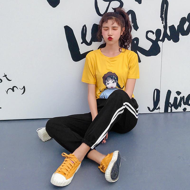 實拍運動套裝女夏2019新款寬松時尚兩件套女學院風學生韓版t恤女