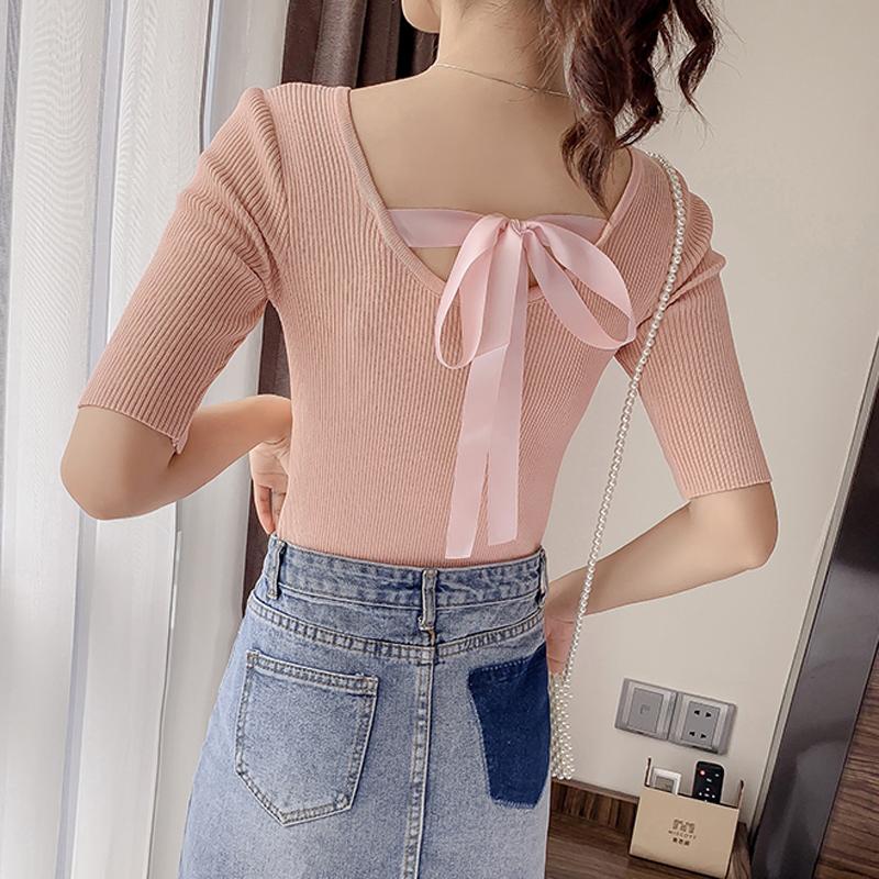 夏季2019新款露背蝴蝶結純色短袖套頭針織衫女修身短款T恤上衣
