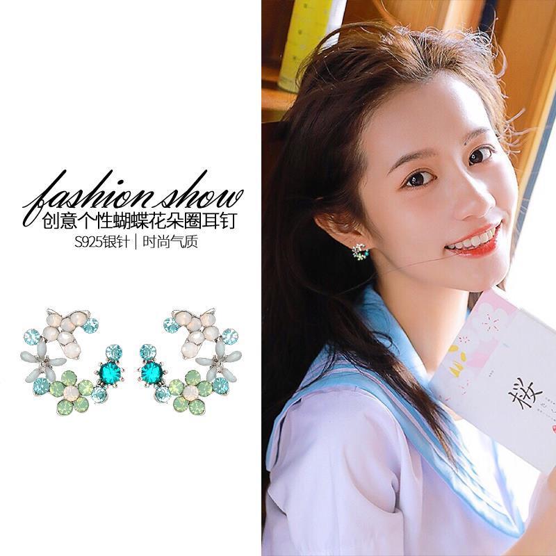 銀針花朵耳釘女少女小清新甜美氣質簡約韓國超仙耳環耳飾