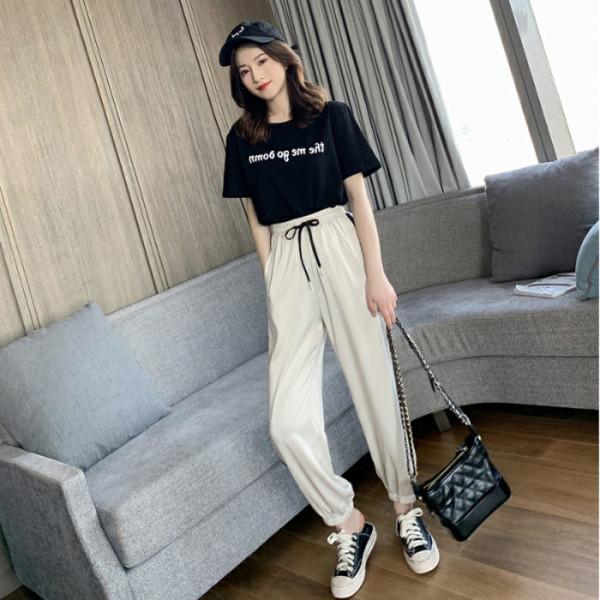 2019春季新款韓版字母短袖T恤+高腰束腳運動褲套裝女休閑兩件套潮