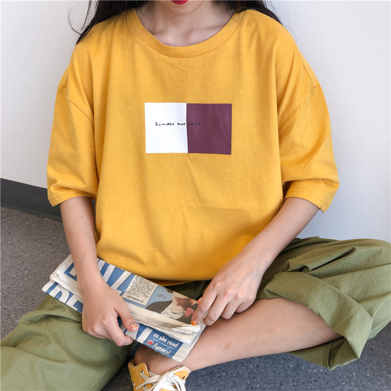 實拍學院風夏款棉質不下架網紅同款韓版寬松短袖中長t恤女上衣