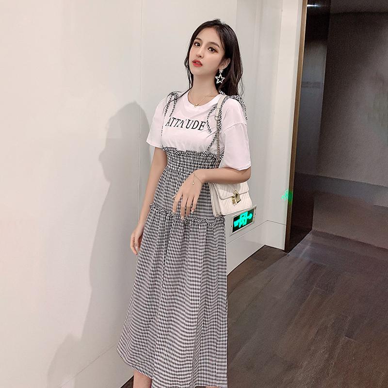 亚博娱乐平台入口假两件格子背带裙2019新款夏法式连衣裙显瘦复古裙流行裙子女