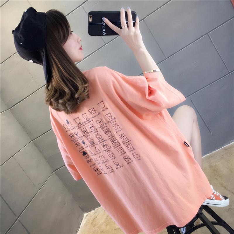實拍2019夏款棉質不下架網紅同款韓版寬松短袖中長t恤女上衣