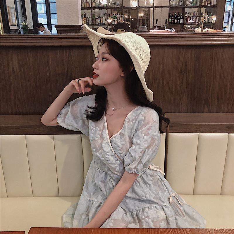 实拍实价 控价69 法式复古两穿v领连衣裙立体雕花蓬蓬蛋糕裙