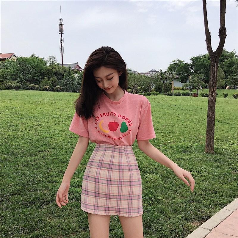 实拍实价 控价29-35 可爱减龄水果棉T恤+小清新包臀短裙套装