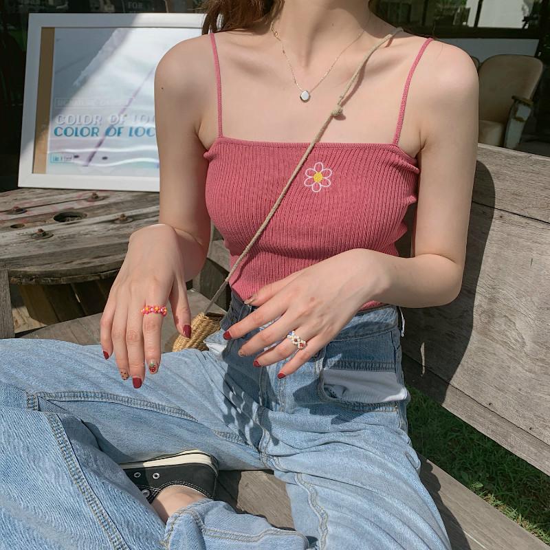 控件5實拍實價元氣少女泫雅風小花刺繡彈力修身無袖氣質吊帶背心