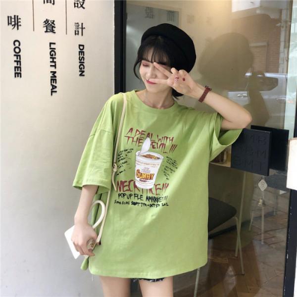 오픈 뒤로 가기 홍콩 여성 2019 새로운 한국어 버전 느슨한 긴 섹션에 슈퍼 화재 CEC 반팔 T - 셔츠 여성의 조수