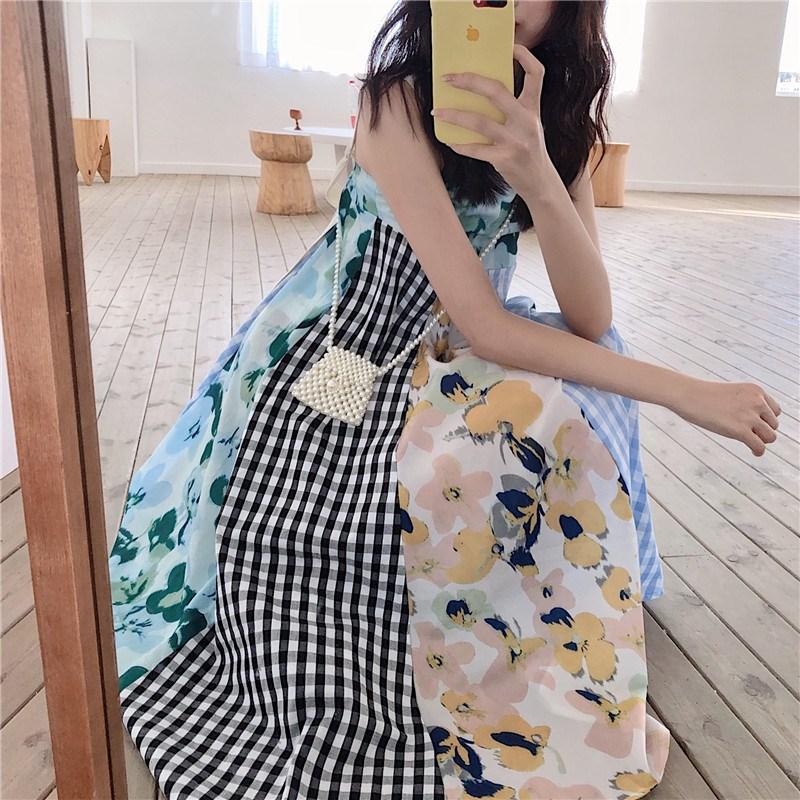 实拍实价 控价69 韩版中长款伞摆格子拼色印花A字连衣裙
