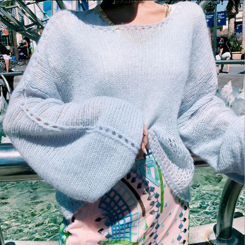 秋冬新款馬海毛毛衣女慵懶舒適時髦寬松時尚顯瘦長袖針織