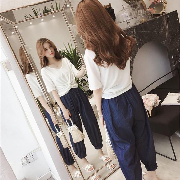 2019蘿卜褲套裝夏裝新款女俏皮韓版網紅同款港味上衣九分褲兩件套