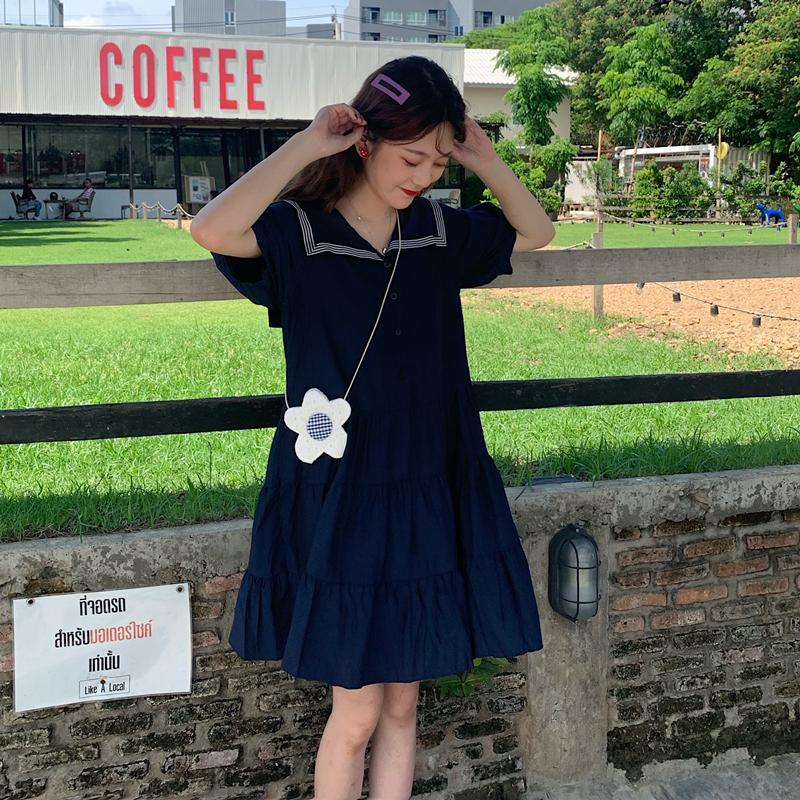 控價5 實拍實價海軍領寬松短袖連衣裙2019新款中長款裙學生A字裙