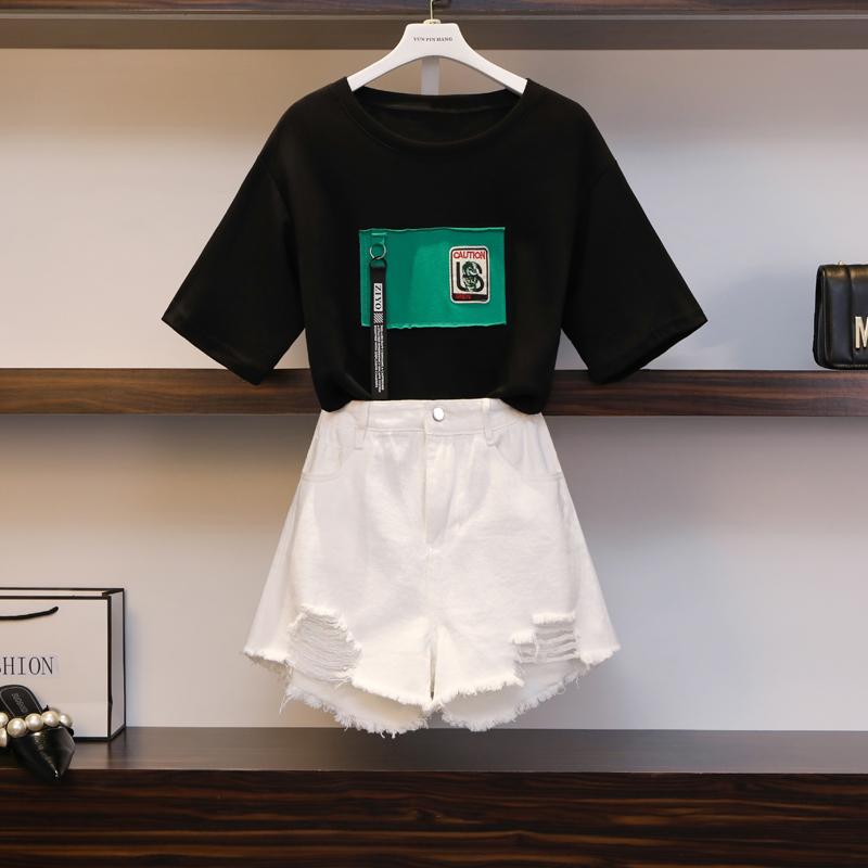 2019夏裝洋氣時尚套裝胖妹妹大碼女裝減齡顯瘦藏肉遮肚子兩件套女