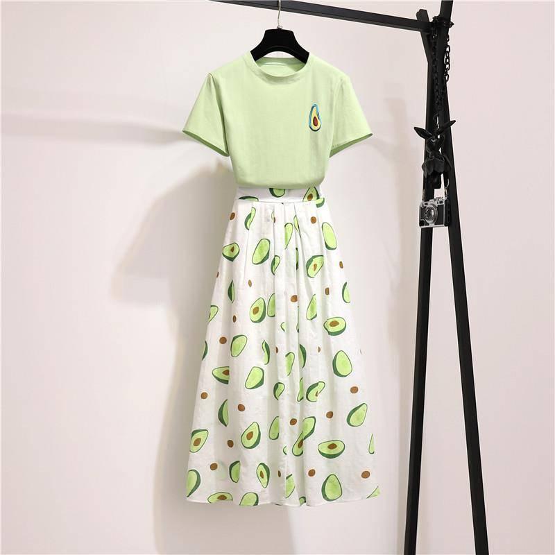 小清新套裝女夏季牛油果印花T恤+高腰百褶半身長裙俏皮洋氣兩件套