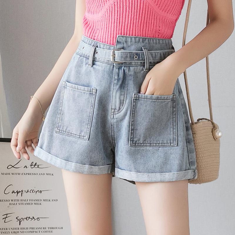 牛仔短褲女高腰腰帶2019新款夏季外穿寬松顯瘦闊腿褲子熱褲潮學生
