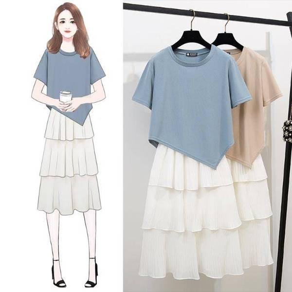 港味圓領短袖不規則T恤+甜美可愛俏皮雪紡半身百褶蛋糕裙兩件套裝