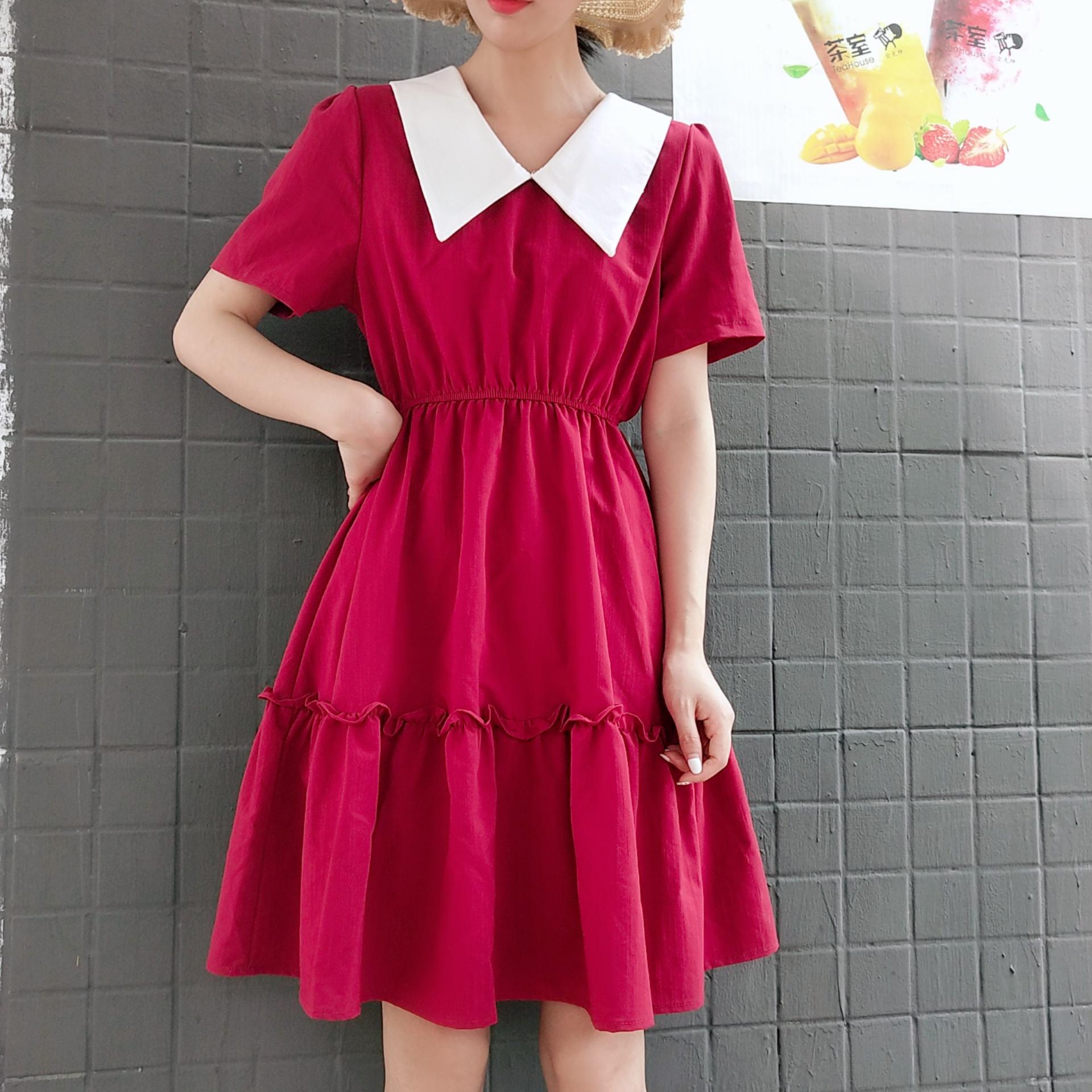 2019夏季新款韓版學院翻領兩面穿收腰顯瘦連衣裙赫本風閨蜜裝裙子