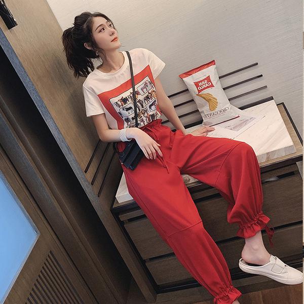 網紅潮復古印花短袖T恤套裝女夏季2019新款高腰束腳休閑褲兩件套