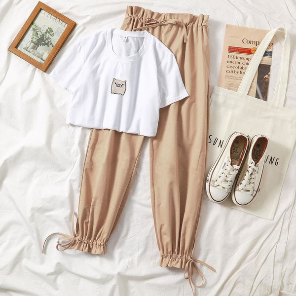 網紅哈倫褲兩件套裝女夏季新款學生闊腿褲顯瘦短袖T恤套裝