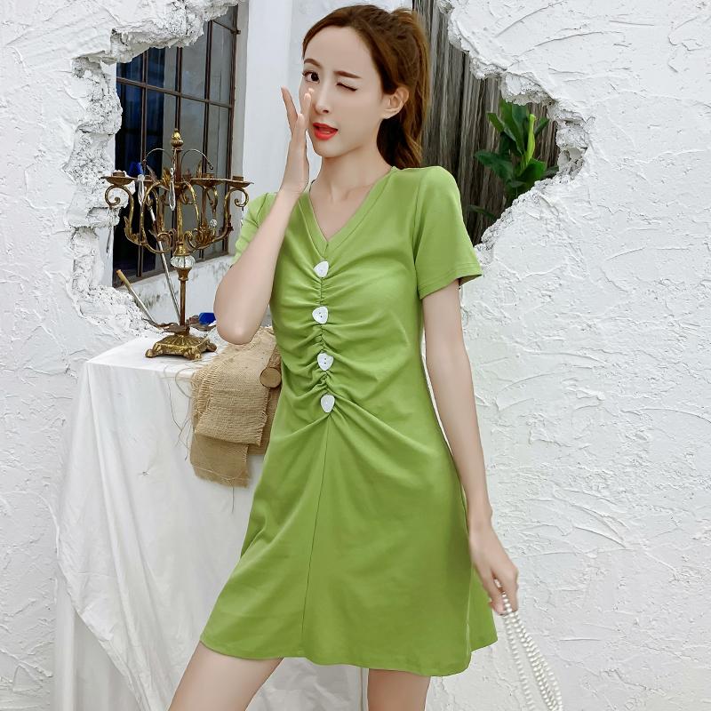實拍連衣裙2019夏韓版少女氣質抽褶修身顯瘦短袖綠色V領裙子女潮