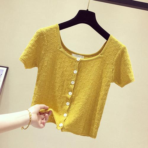 短款鏤空方領針織T恤上衣2019夏季新款韓版修身短袖打底衫ins半袖