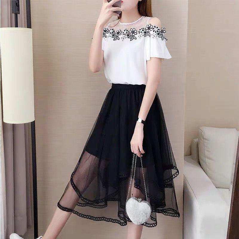 2019新款夏裙子仙女超仙森系雪紡連衣裙一字肩上衣網紗兩件套裝裙