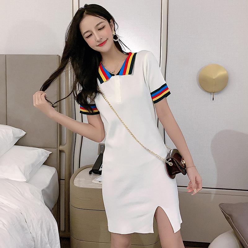 小清新彩虹領短袖高腰針織裙2019夏季新款氣質短裙子開叉連衣裙女