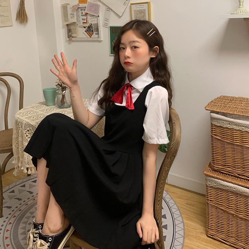 控價5實拍實價~復古學院風甜美減齡襯衫+收腰背心連衣裙兩件套