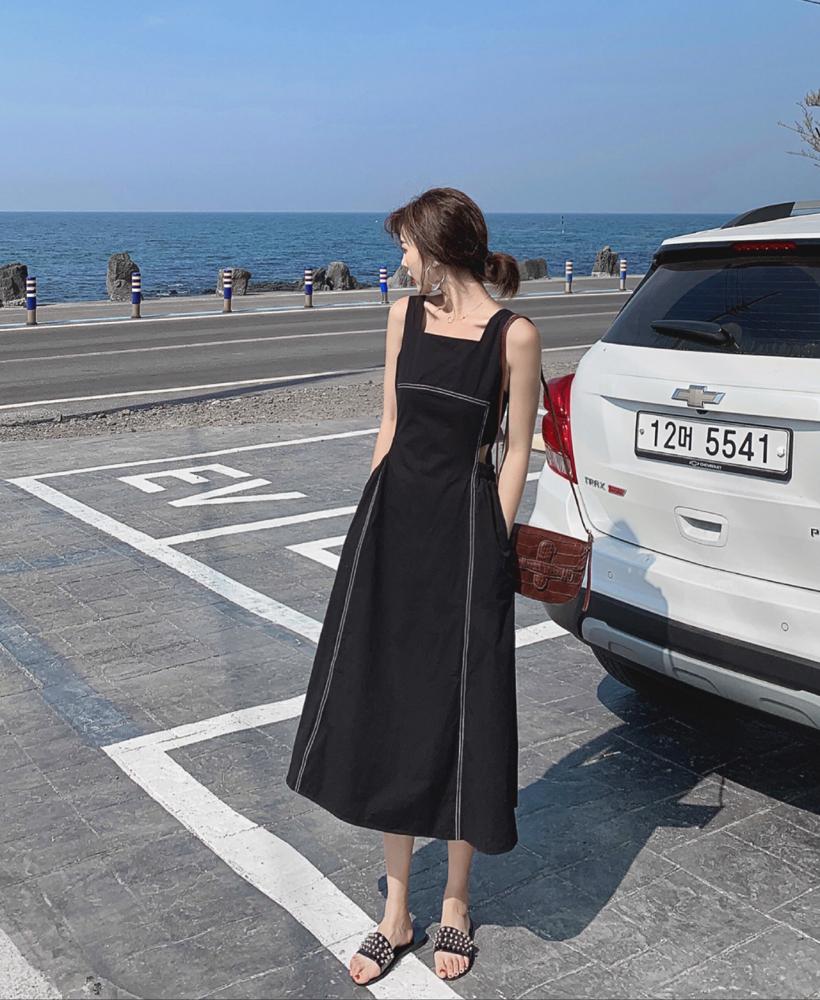 實拍法式復古夏季小眾設計感過膝無袖蓬蓬露腰連衣裙很仙初戀