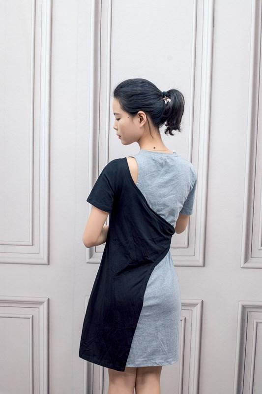 歐洲站2019夏裝女新款歐貨黑白拼接收腰綁帶不規則下擺T恤連衣裙