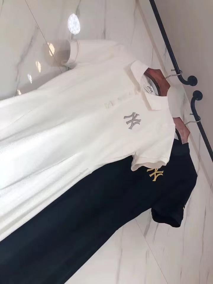 欧洲站2019夏季新款韩版刺绣字母翻领polo领短袖T恤衫中长连衣裙