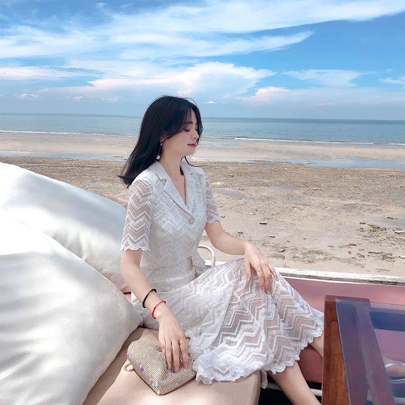 夏季新款韩版蕾丝衫+半身裙两件套装