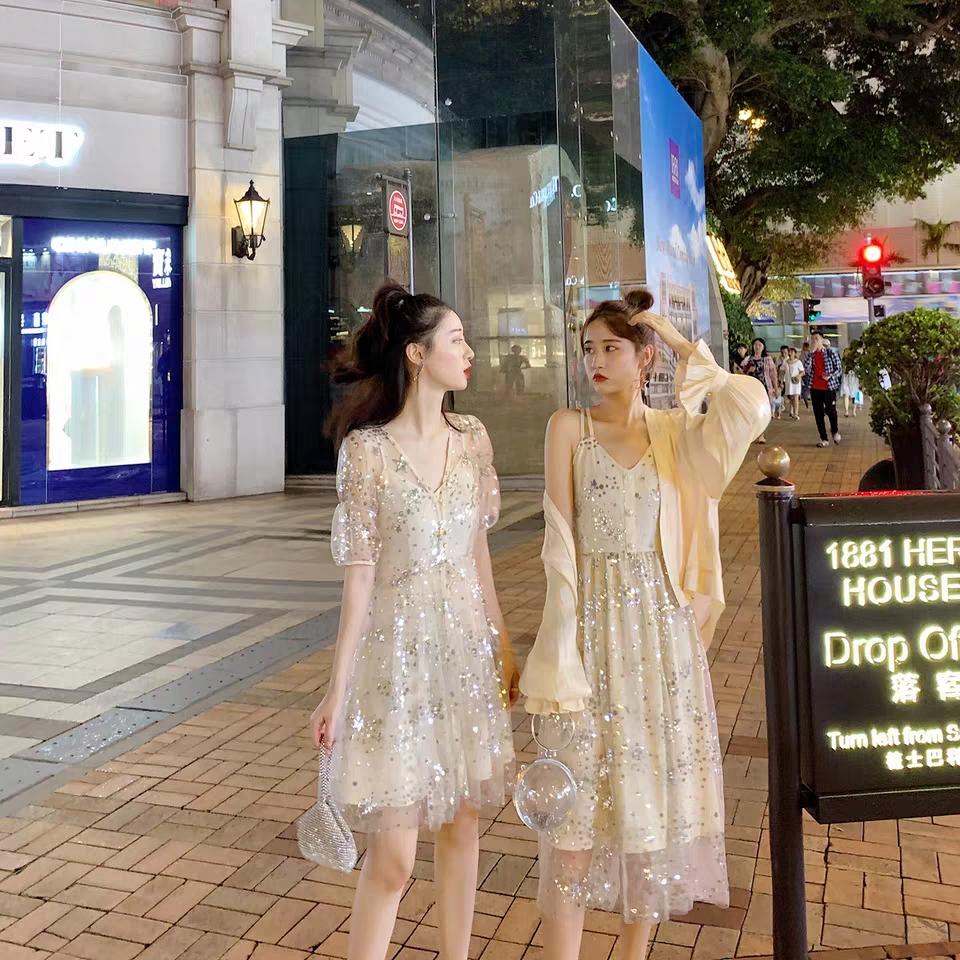 果果家新款2019夏季新款閨蜜裝亮片連衣裙 0616