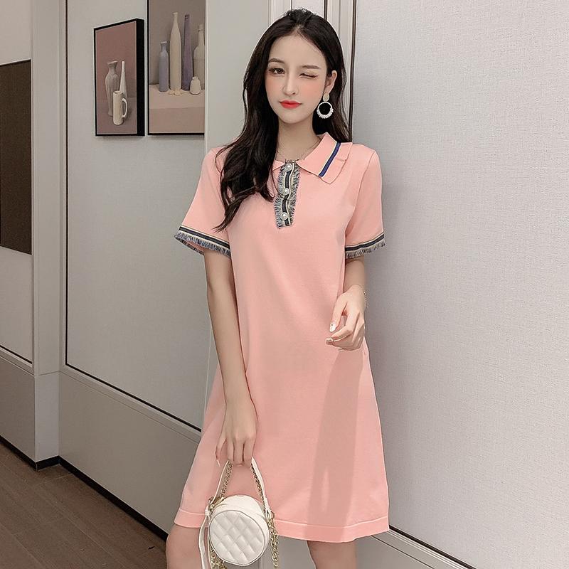 小香風連衣裙2019新款夏很仙的法國小眾桔梗裙polo領針織裙復古裙
