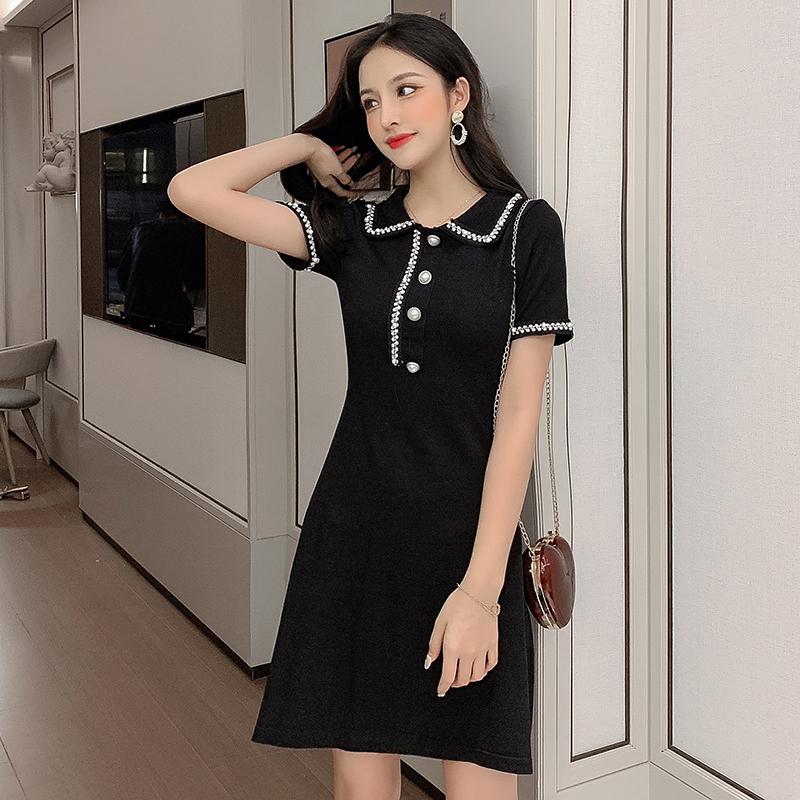 小香風POLO領小黑裙短袖連衣裙黑色收腰裙子女2019夏季新款針織裙