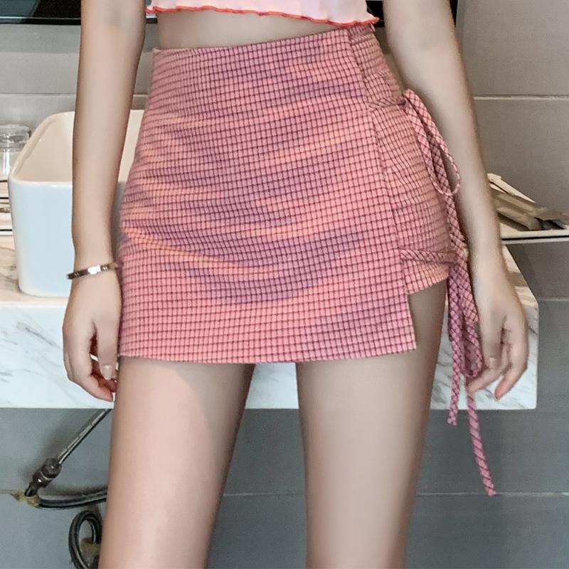 2019泫雅風夏季少女心俏皮女裝活潑網紅洋氣復古可愛格子短裙