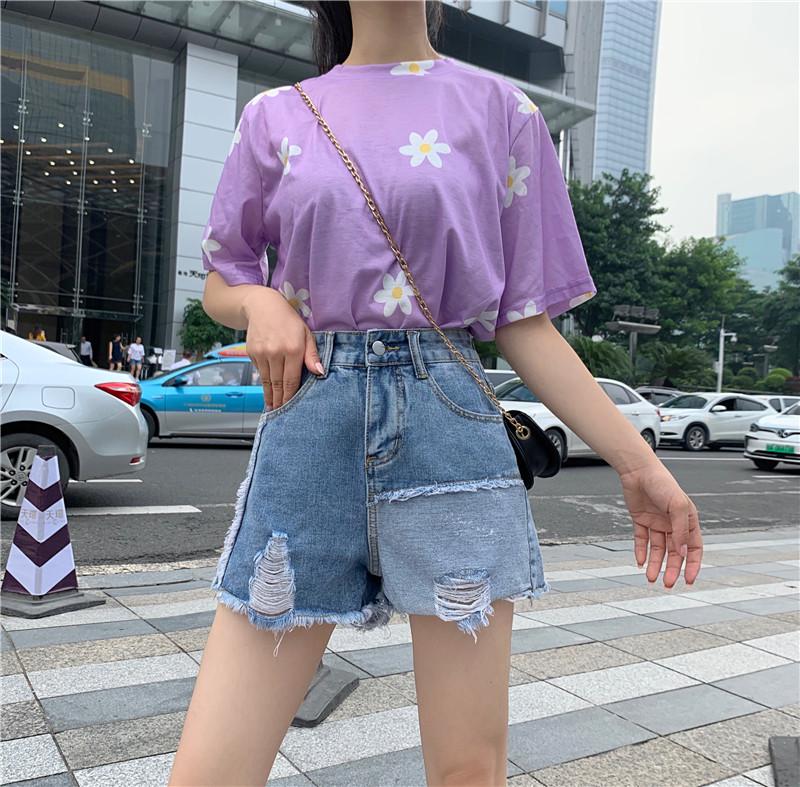 리얼 샷 제어 가격 32 ~ 패션 핫 드릴링 높은 허리 넓은 다리 반바지 청바지 여성의 여름 새로운 한국어 버전