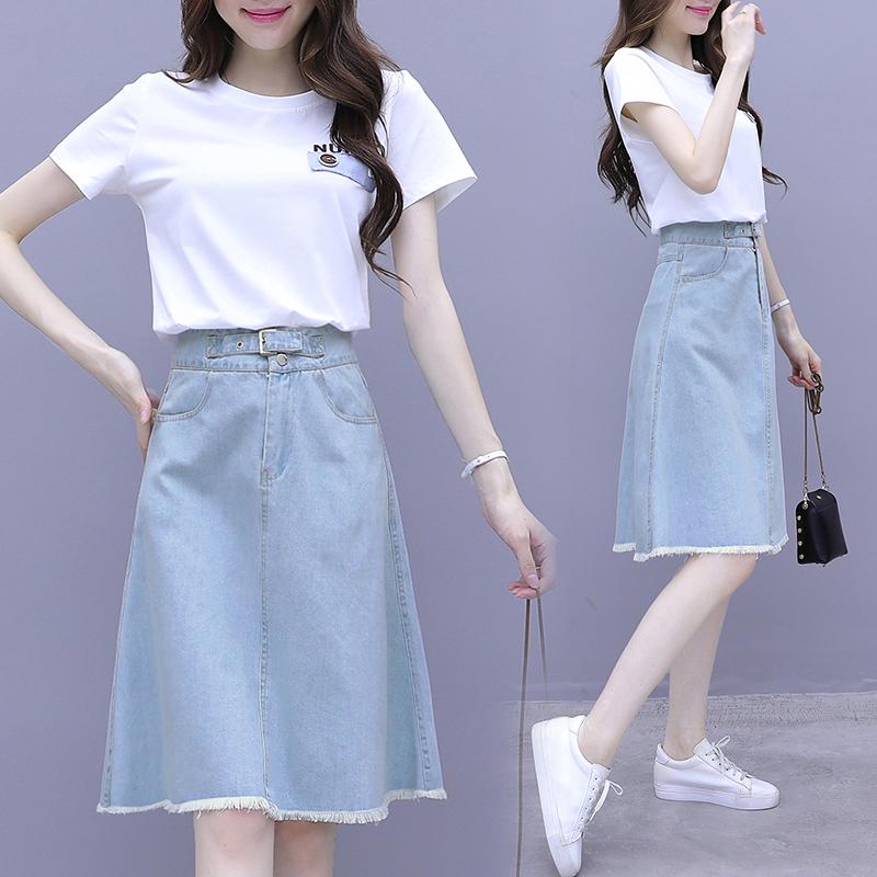 小清新套装裙子女2021新款夏洋气减龄高腰牛仔半身裙两件套连衣裙