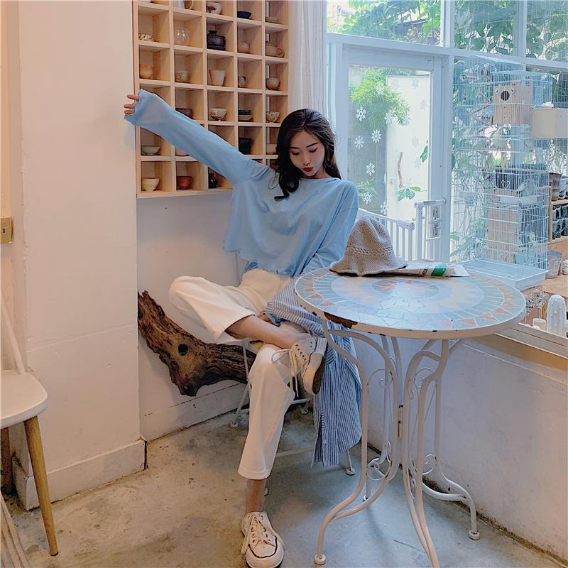 實拍實價 寬松上衣長袖防曬衣薄款+薄款高腰涼涼闊腿褲運動休閑褲