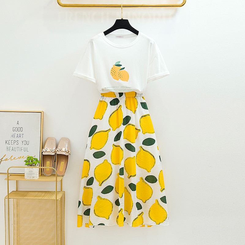 單/兩件套小清新套裝女夏季牛油果印花T恤+高腰百褶半身長裙俏皮