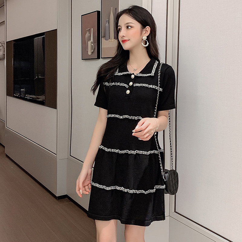 新款夏天甜美氣質閨蜜裝法國顯瘦赫本復古裙小香風連衣裙針織修身
