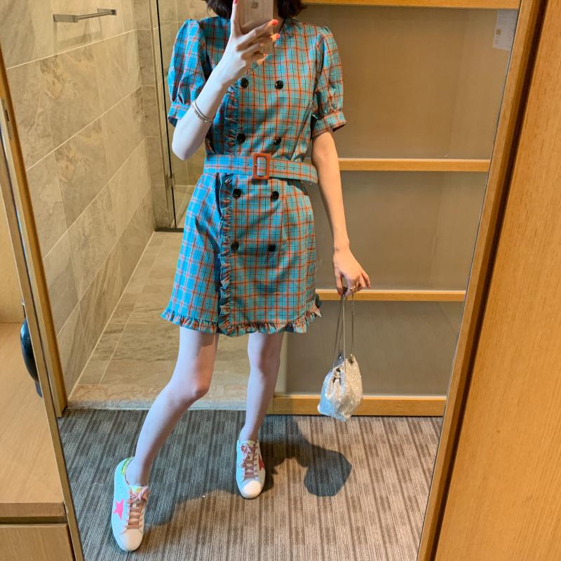 BORAKOO韩国东大门夏正品 韩国小姐姐气质灯笼袖双排扣木耳连衣裙