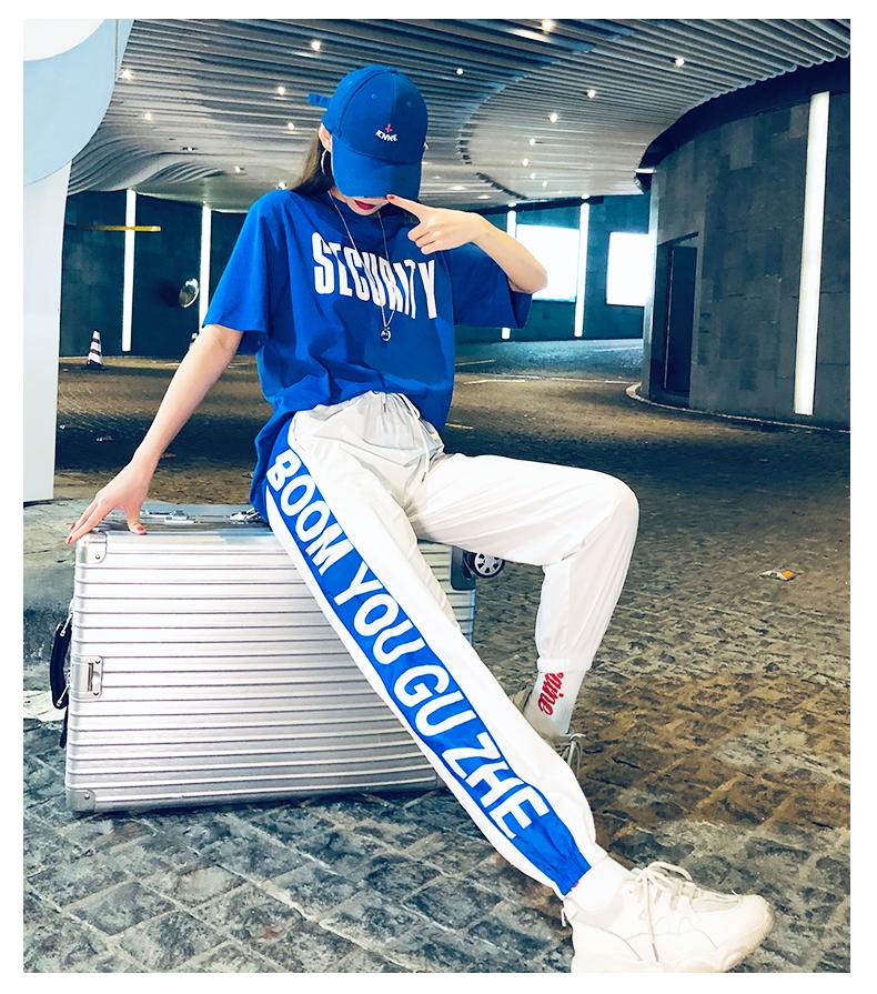嘻哈休閑運動套裝女2019夏季新款韓版寬松洋氣港味bf網紅兩件套潮