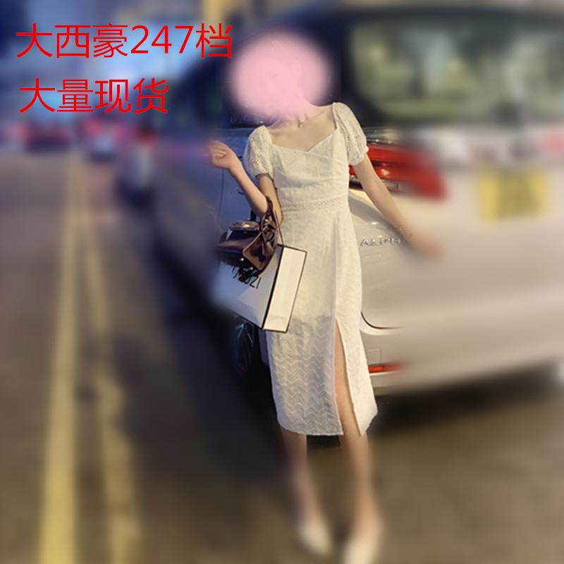 2019新款法式御姐風連衣裙氣質小香風v領白色高腰開叉長裙子女夏