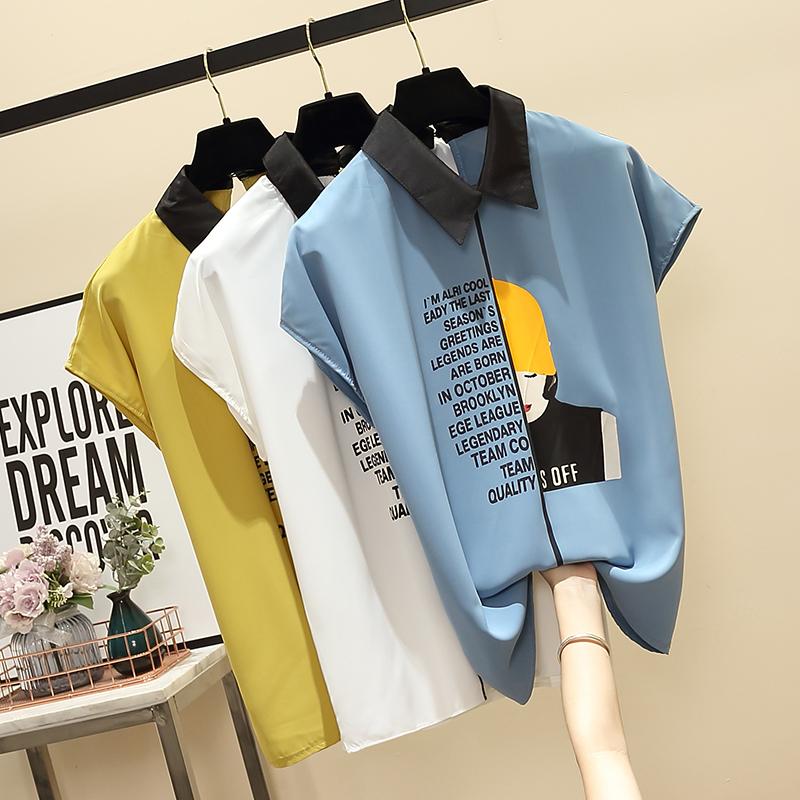 實拍大碼字母印花胖妹妹雪紡衫薄款襯衫2019夏裝韓版寬松短袖小衫