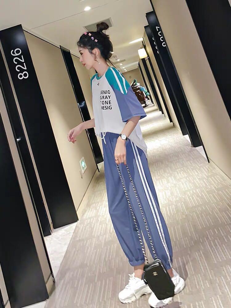 時尚套裝女兩件套減齡休閑運動很仙的網紅寬松夏洋氣2019夏裝新款