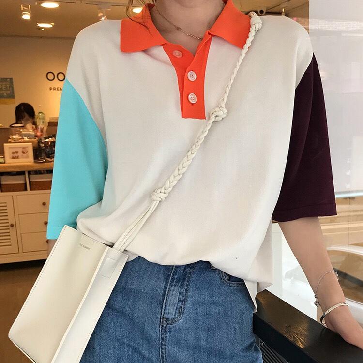 好质量 撞色宽松针织衫时尚Polo领短袖百搭休闲T恤女