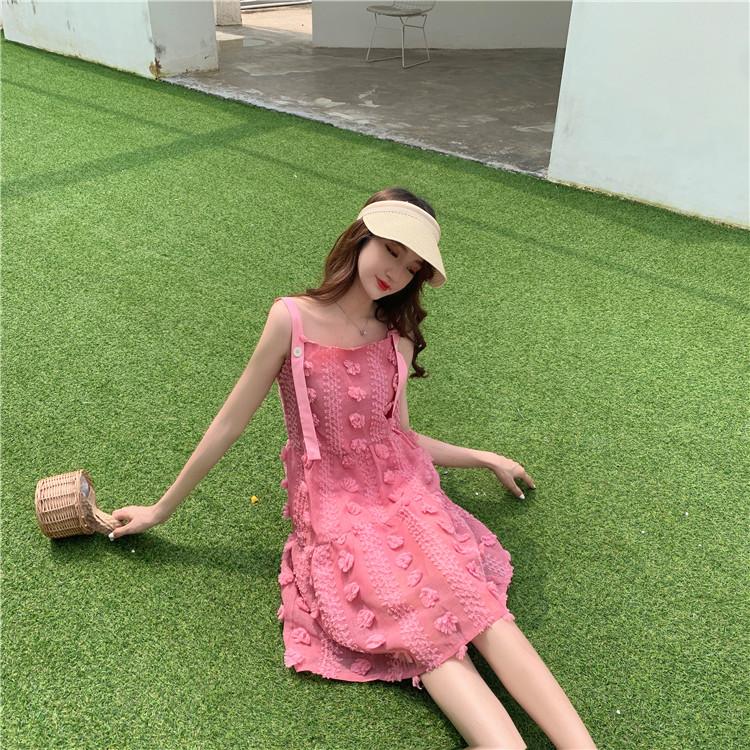 实拍?#23548;?韩版宽松娃娃领无袖粉色连衣裙+吊带裙闺蜜装女