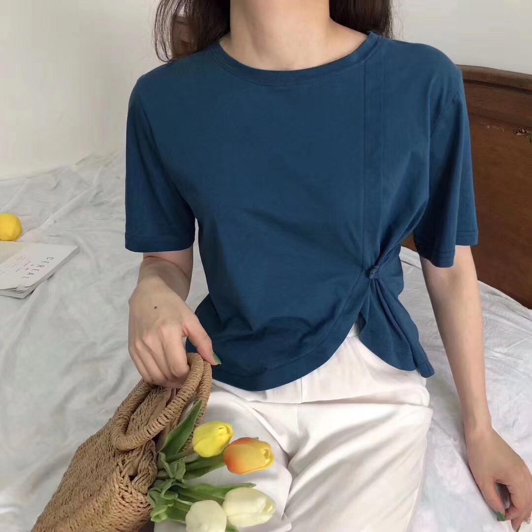 2019夏季新款心机侧扣设计感T恤女百搭纯棉短袖短款ins小香风打底