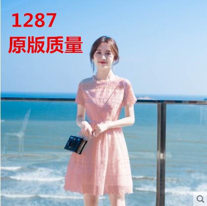 很仙的法国小众小个子连衣裙ins夏chic气质粉色仙女蕾丝裙可爱女