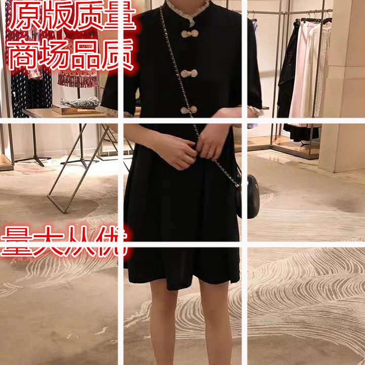 珍珍家定制 复古中式蝴蝶结连衣裙女夏中国风立领小黑裙2019新款